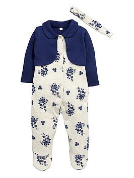 ladybird-baby-girls-floral-sleepsuit-and-headband-set
