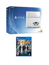 500Gb White Console with The Division and Optional Extra DualShock Controller, 365 PSN Subscription