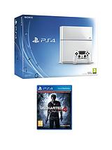 500Gb White Console with Uncharted 4 - A Thief's End and Optional Extra DualShock Controller, 365 PSN Subscription