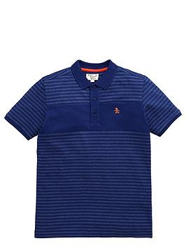 penguin-ss-stripe-cut-and-sew-jersey-polo-blue-depths