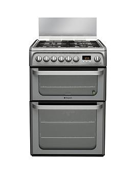 Hotpoint Ultima Hud61Gs 60Cm Double Oven Dual Fuel Cooker With Gas Hob  Graphite