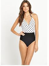 Spot Textured Scallop Swimsuit