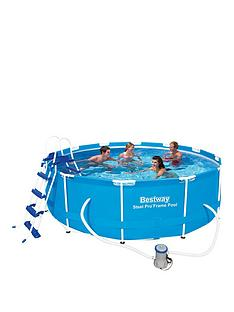 bestway-12ft-steel-pro-frame-pool-with-ladder-amp-pump