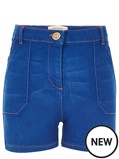 river-island-girls-blue-high-waisted-denim-shorts