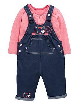 ladybird-baby-girls-denim-look-dungarees-and-long-sleeve-t-shirt-set-2-piece