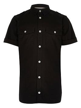 river-island-boys-black-military-shirt