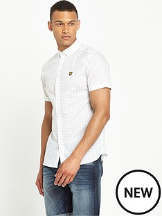 lyle-scott-short-sleeve-square-dot-shirt