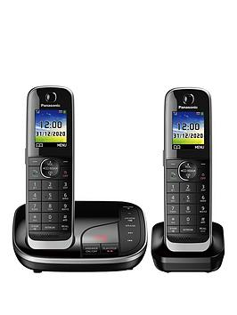 panasonic-kx-tgj322ebnbsptwin-cordless-telephone-with-answering-machine-black