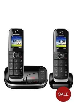 panasonic-kx-tgj322ebnbsptwin-cordless-telephone-with-answering-machine-black