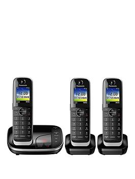 panasonic-kx-tgj323ebnbsptrio-cordless-telephone-with-answering-machine-black