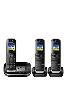 panasonic-kx-tgj323ebnbsptrio-cordless-telephone-with-answering-machine-black