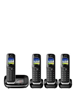 Panasonic KxTgj324Eb Quad Cordless Telephone With Answering Machine  Black
