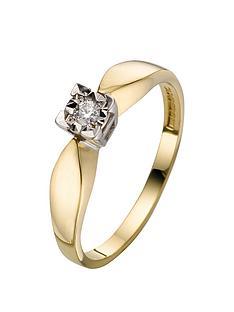 love-diamond-9-carat-yellow-gold-5pt-diamond-illusion-set-solitaire-ring
