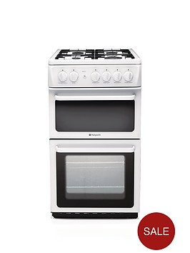 hotpoint-hag51p-50-cm-twin-cavity-gas-cooker-white