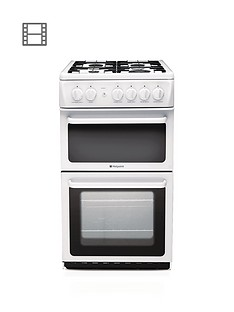 hotpoint-hag51p-50cm-twin-cavity-gas-cooker-with-fsd-white