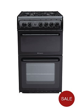 hotpoint-hag51k-50cm-twin-cavity-gas-cooker-black