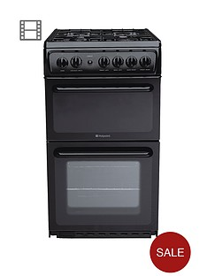 hotpoint-hag51k-50cm-twin-cavity-gas-cooker-with-fsd-black