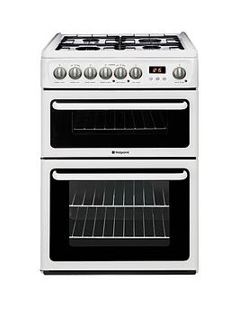 Hotpoint Hag60P 60Cm Double Oven Gas Cooker With Fsd  White