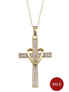 love-diamond-9-carat-yellow-gold-5-point-diamond-set-cross-pendant