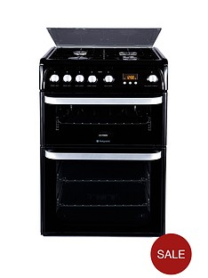 hotpoint-hug61k-60-cm-double-oven-gas-cooker-black