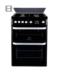 hotpoint-hug61k-60cm-double-oven-gas-cooker-black