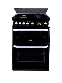 hotpoint-ultima-hug61k-60cm-double-oven-gas-cooker-with-fsd-black