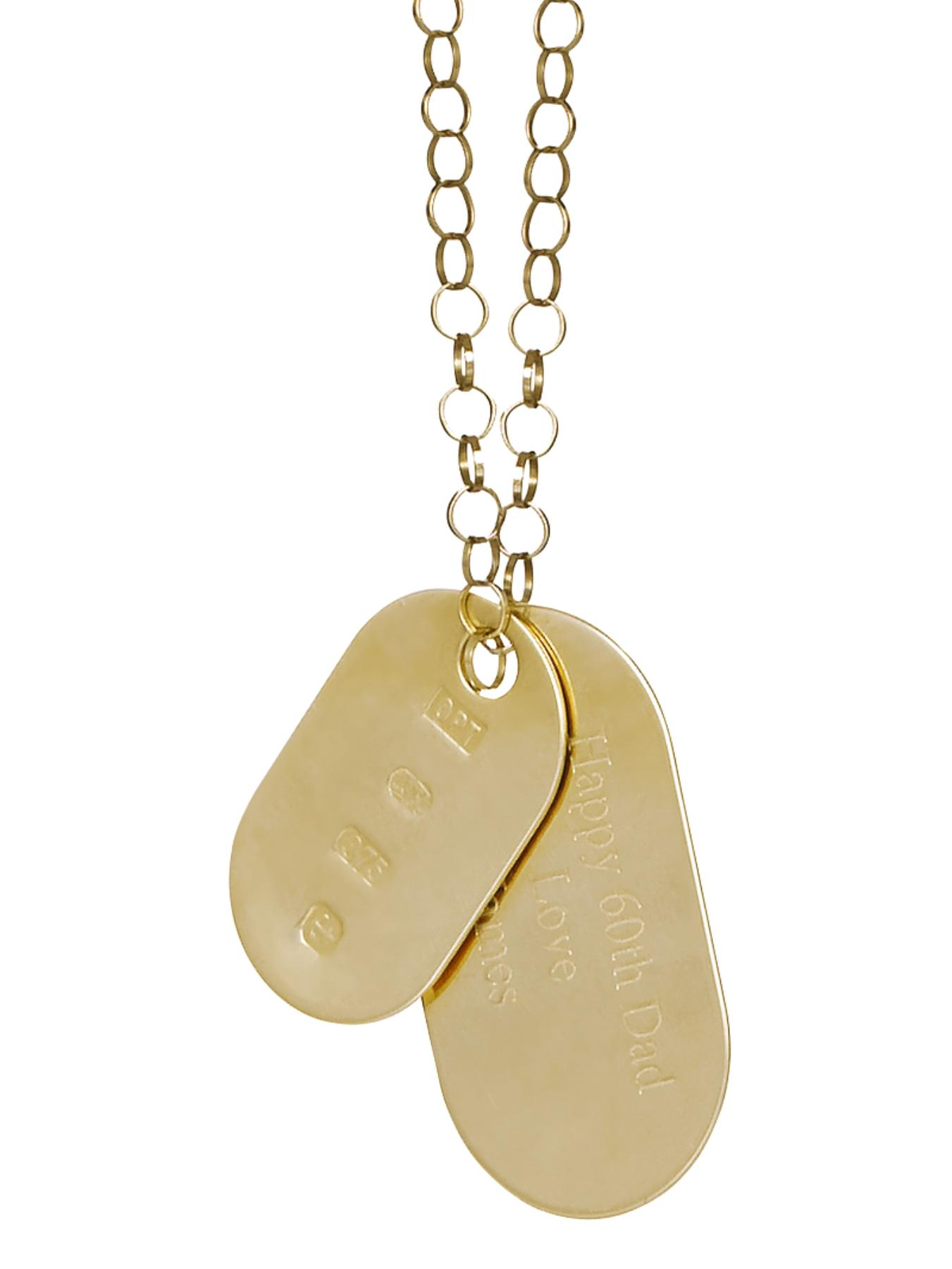 Personalised 9 Carat Yellow Gold Double Dog Tag Pendant