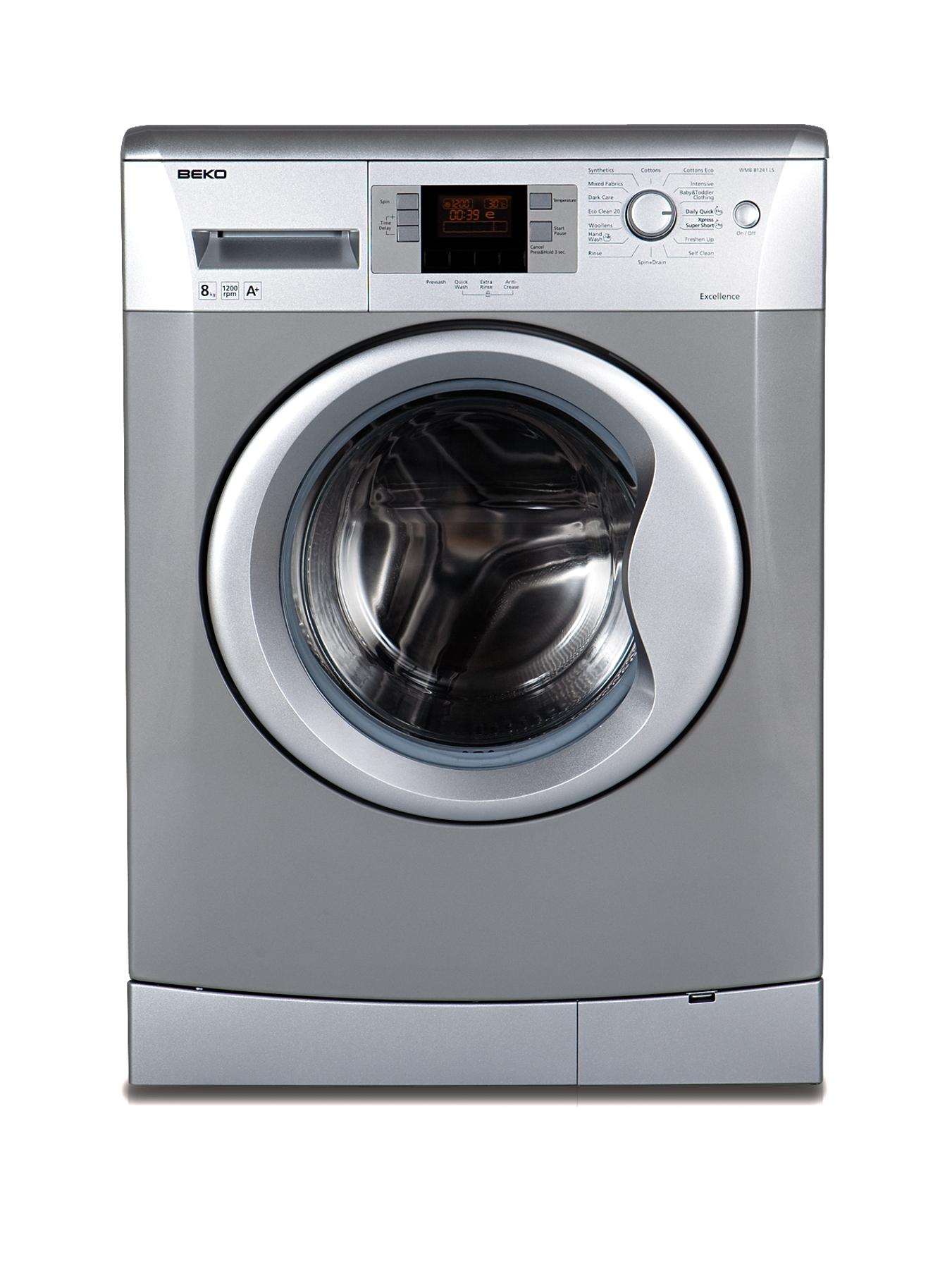 1200 Spin, 8kg Load Washing Machine - Silver (Next Day Delivery)