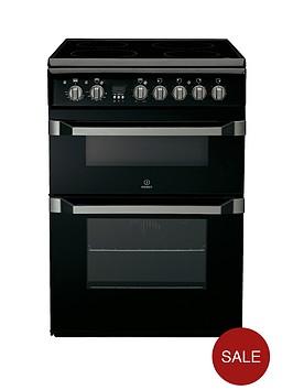 indesit-id60c2ks-60cm-ceramic-hob-double-oven-electric-cooker-black