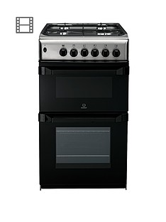 indesit-it50g1xx-50-cm-twin-cavity-gas-cooker-stainless-steel