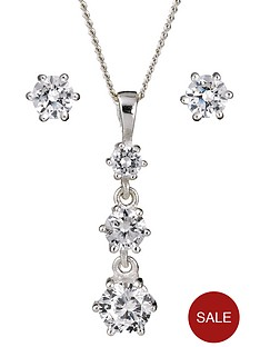 sterling-silver-and-cubic-zirconia-3-stone-pendant-and-earrings-set