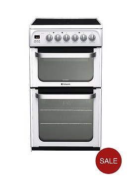 hotpoint-ultima-hue52ps-50cm-double-oven-electric-cooker-white