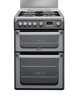 Hotpoint Ultima Hug61G 60Cm Double Oven Gas Cooker With Fsd  Graphite