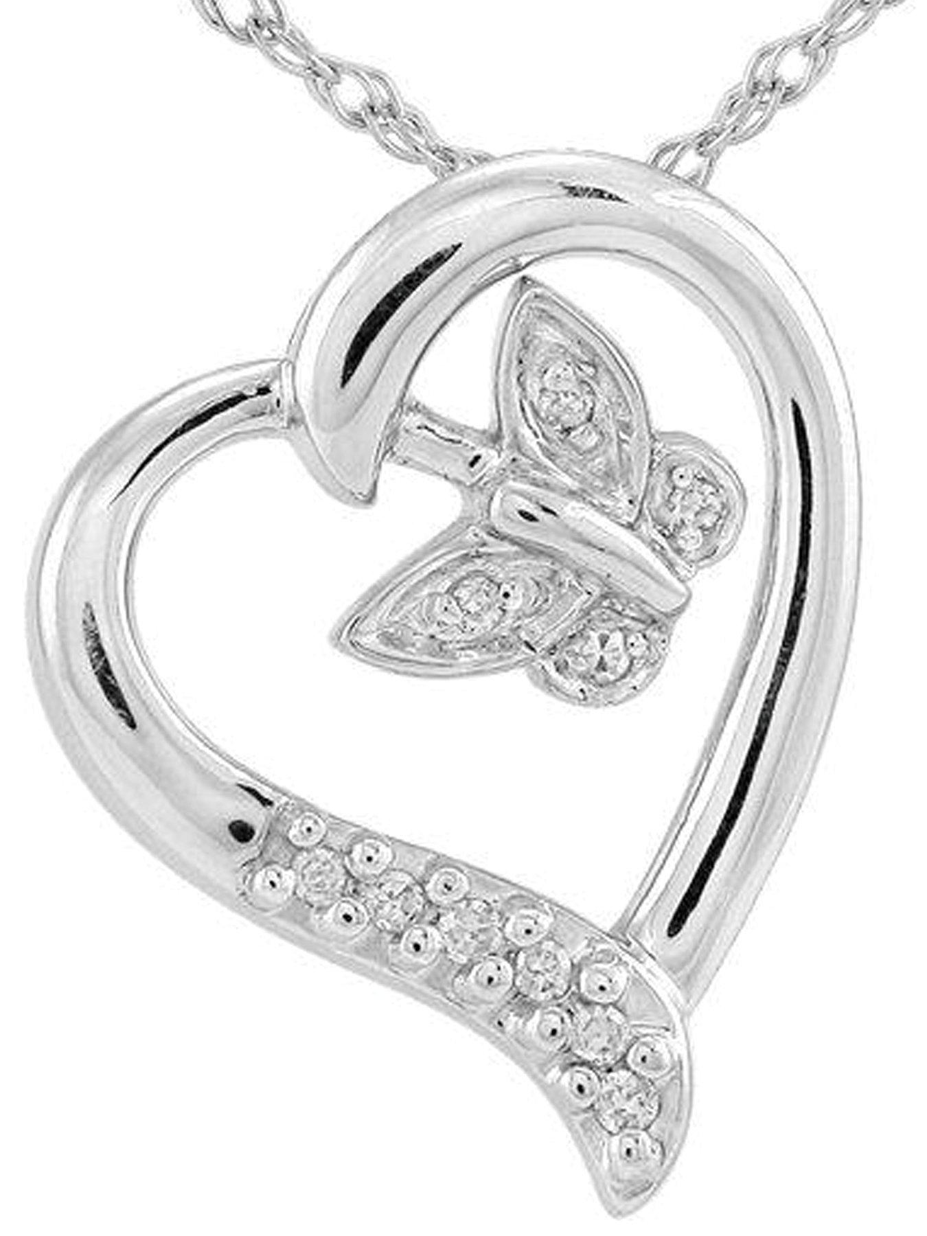 Sterling Silver 5 Point Diamond Heart and Butterfly Pendant