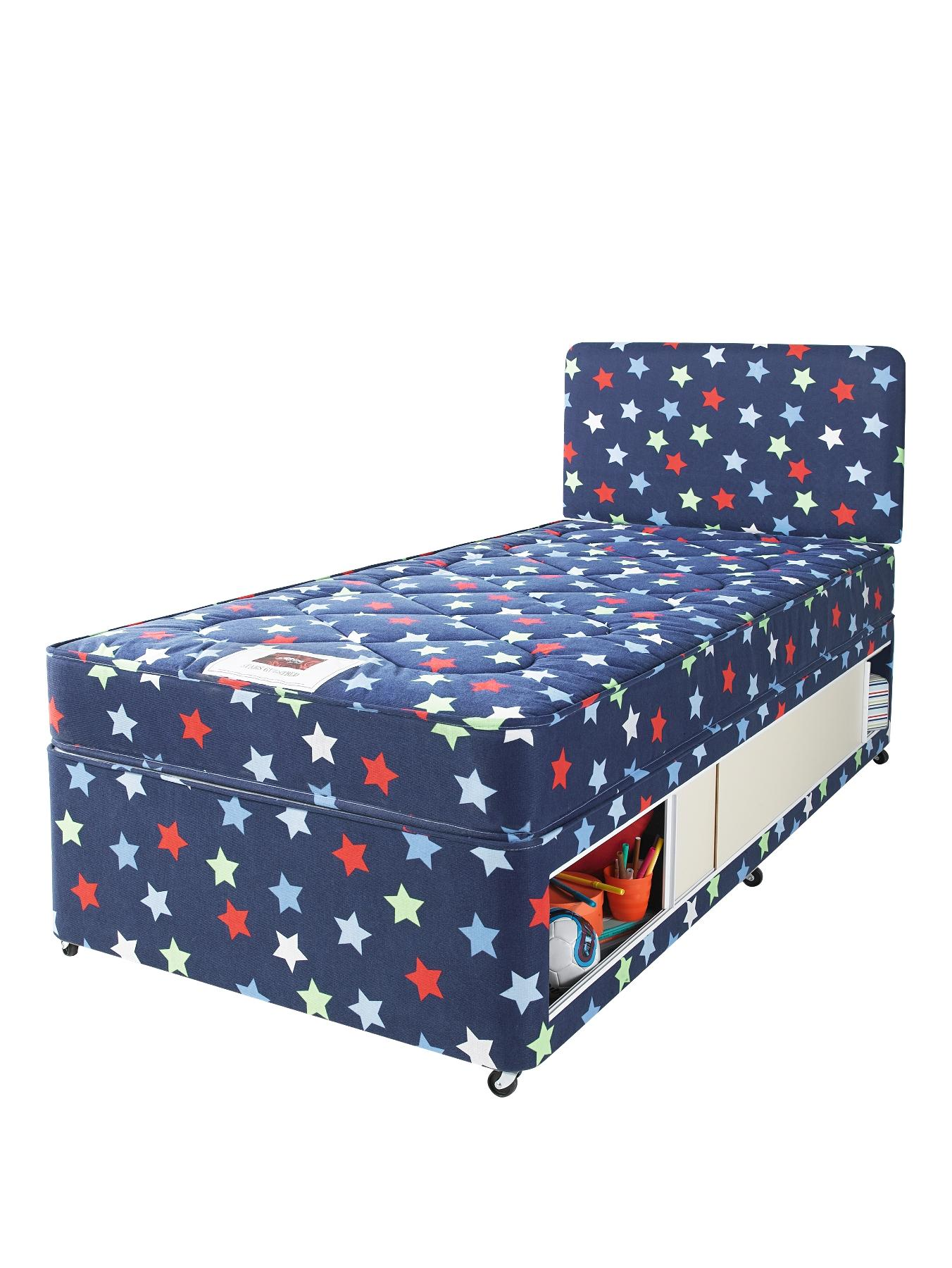 Picture of: Airsprung Stars And Butterflies Small Single Kids Storage Divan With Free Headboard Pink Blue Littlewoods Catalogue Home Shopping