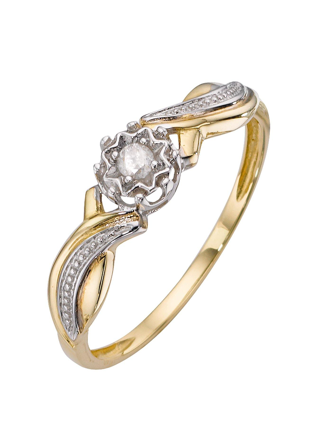9 Carat Yellow Gold 5 Point Diamond Twist Shoulder Ring