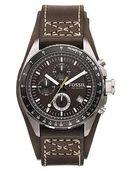 fossil-brown-leather-strap-mens-watch