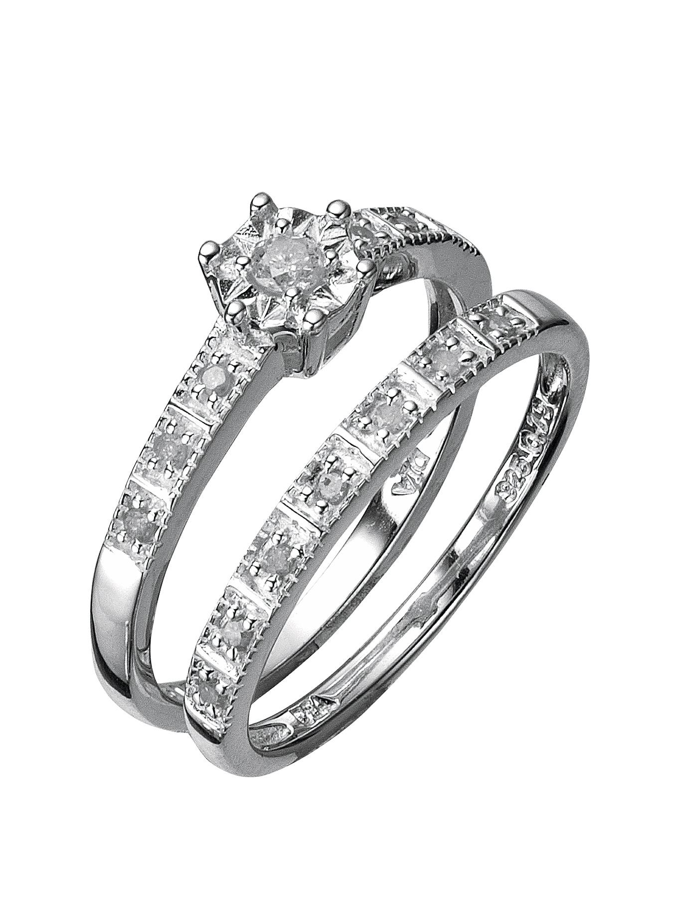 Sterling Silver 13 Point Diamond Bridal Set