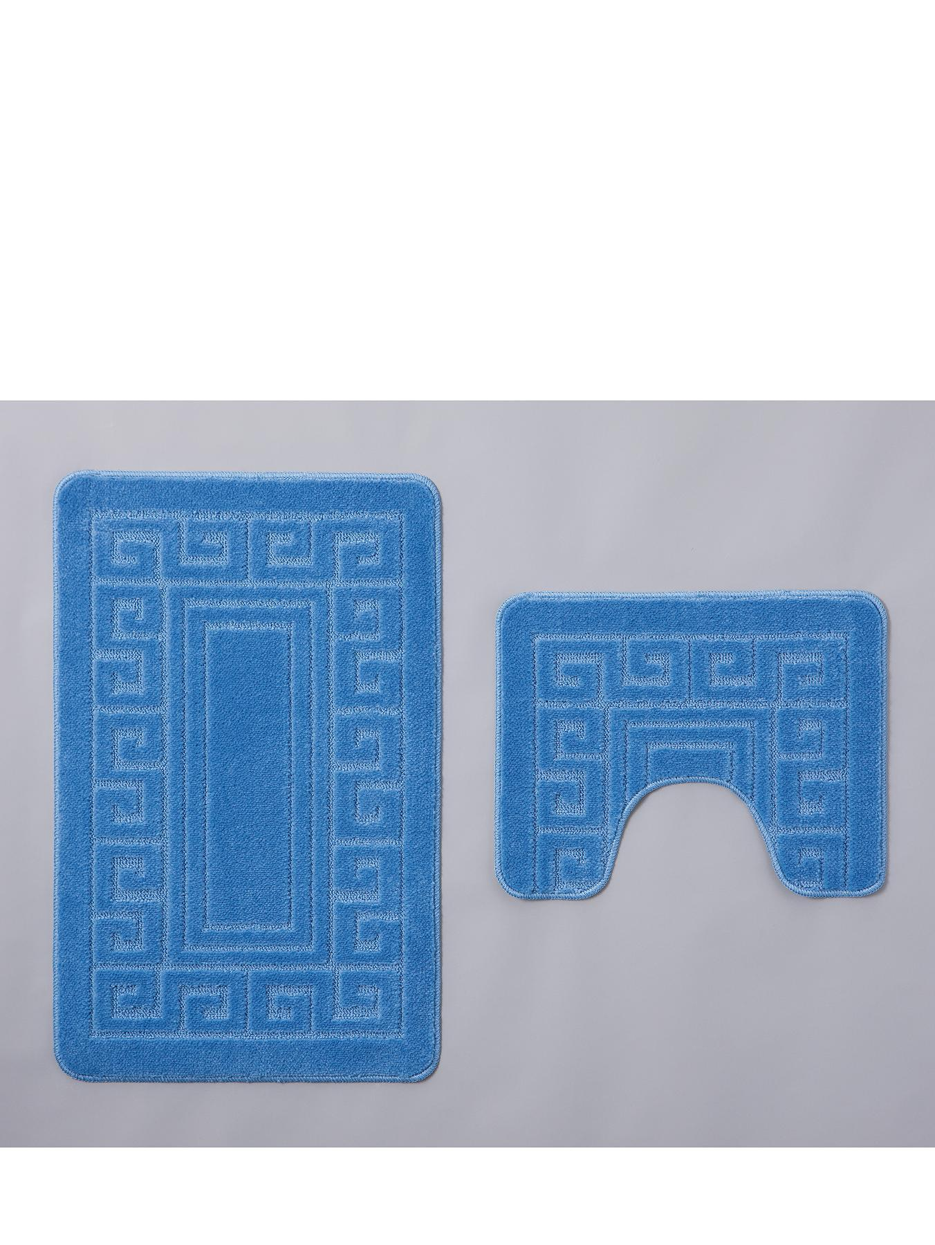Greek Key Bath Mat and Pedestal Set (2-Piece Set), Cream,Blue,Pink,Grey,Green,Red