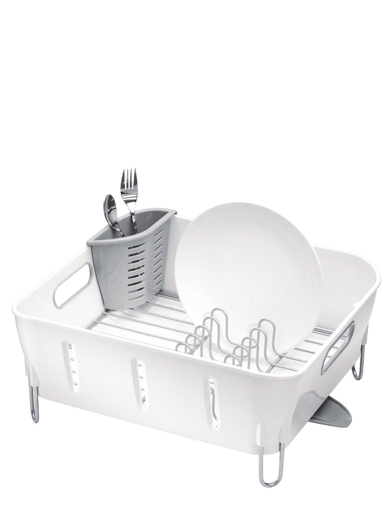 Compact White Plastic Dishrack, White