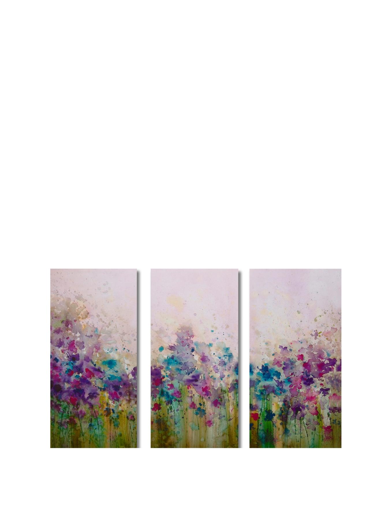 Meadow Watercolour Picture On Canvas (3-piece set)