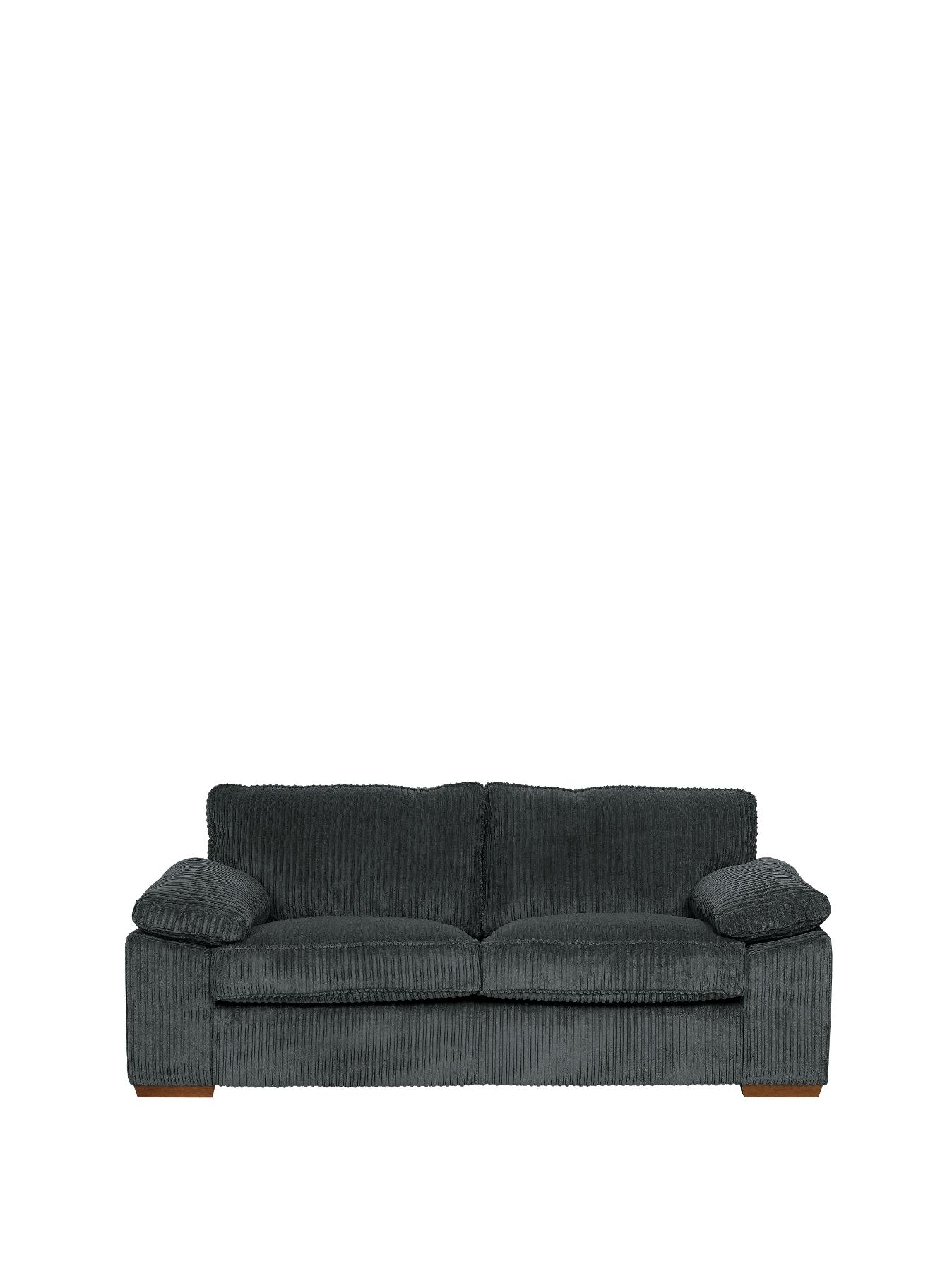 Gladstone 3-Seater Fabric Sofa, Charcoal,Cream,Chocolate
