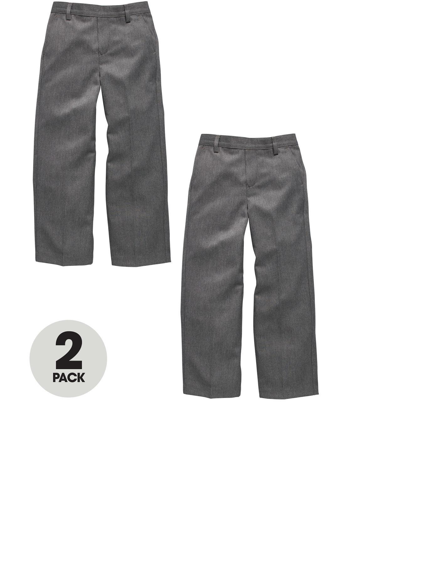 Boys Pull On School Trousers (2 Pack), Grey,Navy,Black at Littlewoods