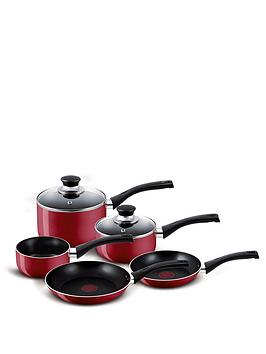 Tefal 5Piece Aluminum Bistro Pan Set  Red