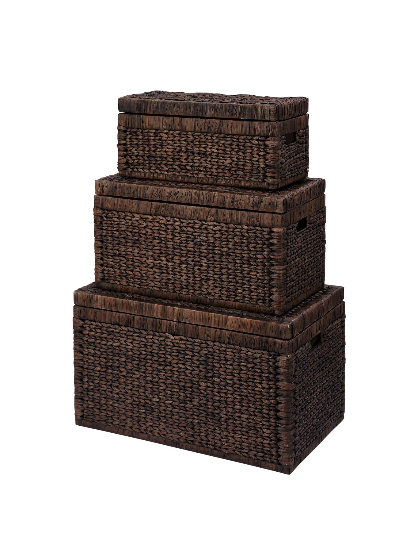 Set of 3 Arrow Weave Wicker Storage Chests - Chocolate