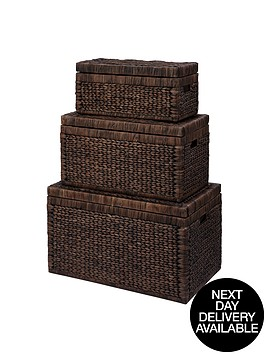 set-of-3-arrow-weave-wicker-storage-chests-chocolate