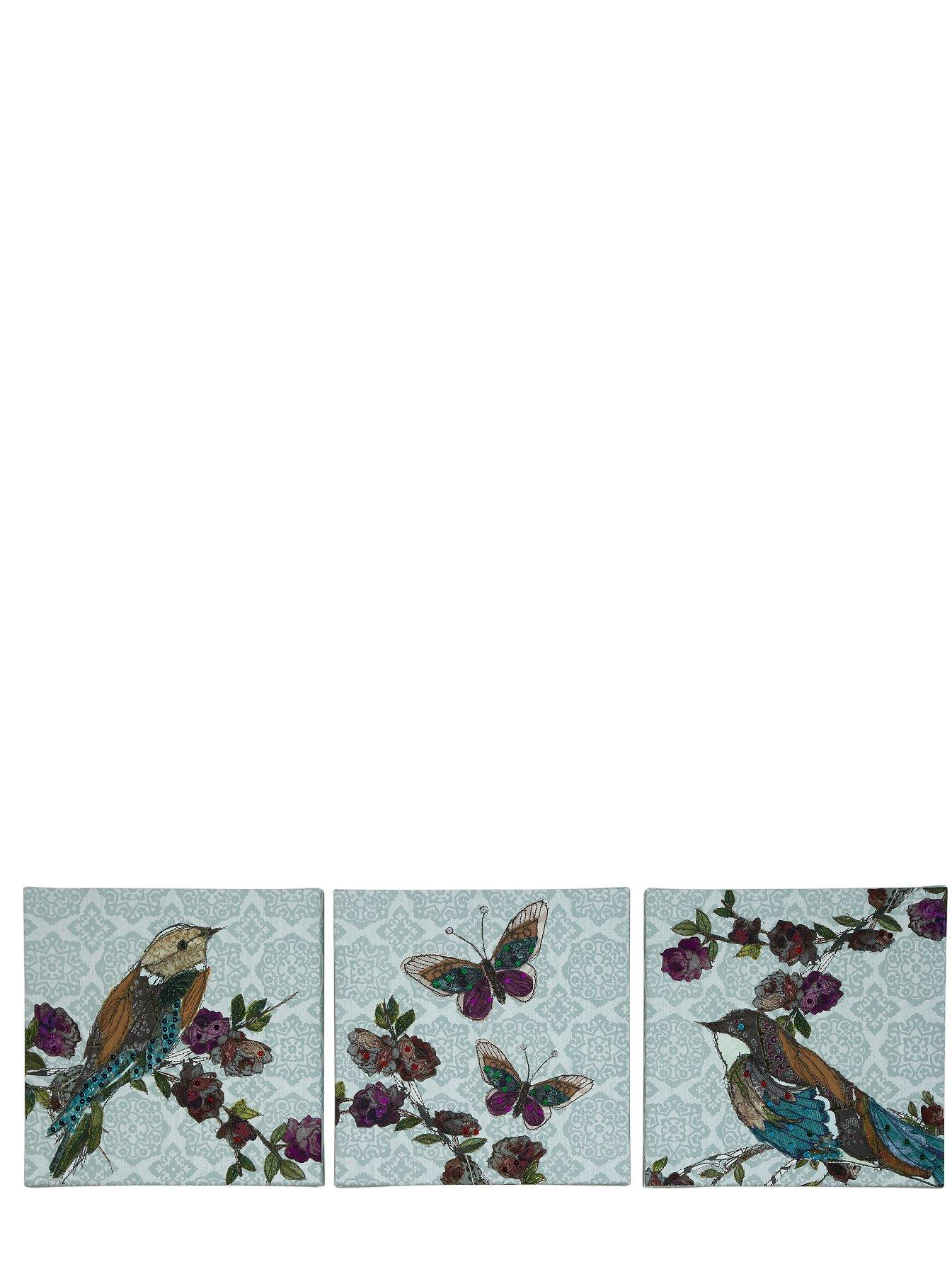 Set of 3 Monsoon Embellished Bird Canvases