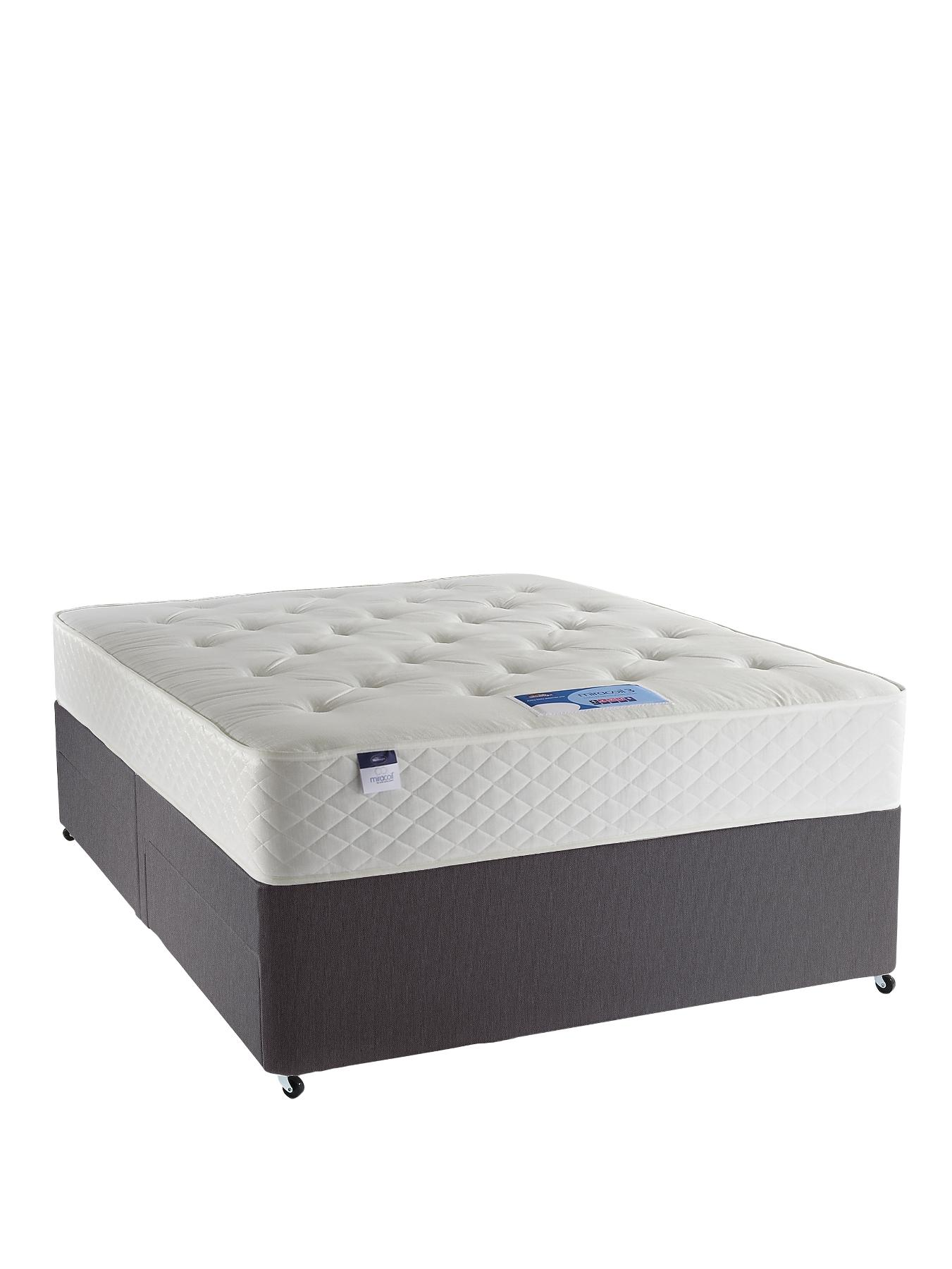 Miracoil 3 Tuscany Divan Bed - Medium Firm, Charcoal,Beige,White