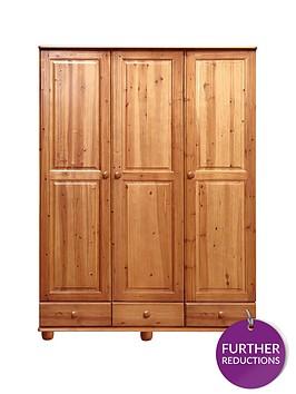 stanton-solid-pine-3-door-3-drawer-wardrobe
