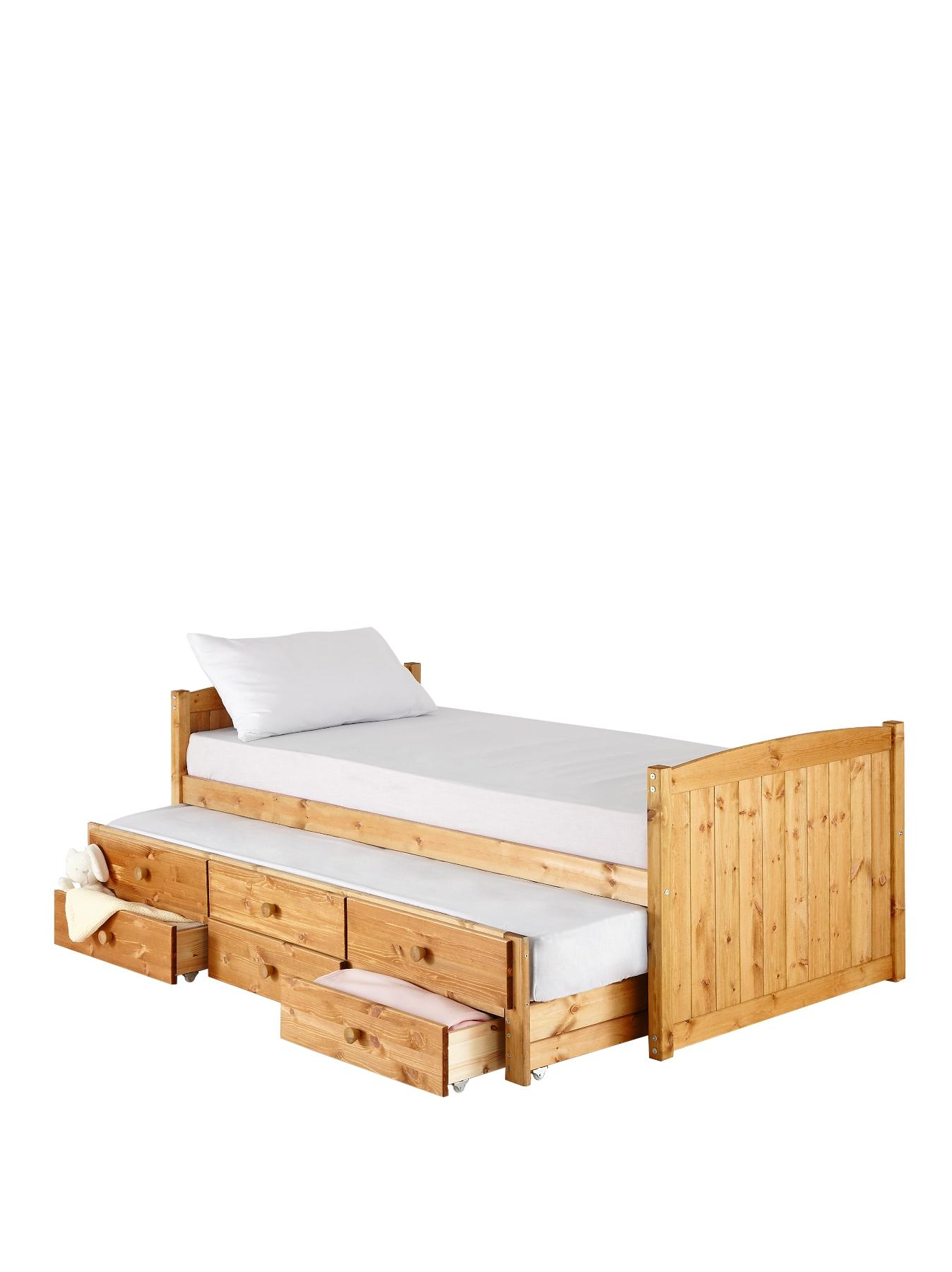 Kidspace Georgie Single Storage Bed + Pull Out Guest Bed (Pine)
